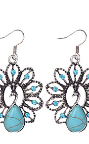 Bohemia Ethnic Style Women Vintage Jewelry Tibetan Silver Turquoise Rhinestone Peacock Shape Dangle Earrings