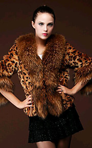 Women's Casual/Daily Simple Fur Coat,Leopard V Neck ¾ Sleeve Winter Yellow Polyester / Special Fur Types Thick