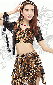 Belly Dance Tops Women's Training Spandex Leopard 1 Piece Leopard Print Belly Dance Short Sleeve Natural Top