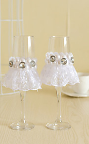 Wedding Accessories with Lace Pearl Dress Sparkling Love Bride Groom Twisted Champagne Glasses Toasting Flutes, Set of 2