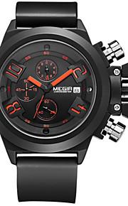 Herren Sportuhr / Kleideruhr / Armbanduhr Quartz Kalender / Chronograph / / Silikon Band Bequem Schwarz / Weiß Marke