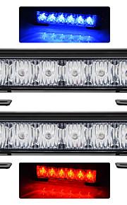 exled 2 stuks 12 LED 2 x 18w auto flash lampje rood + blauw verandering wit waterdichte noodverlichting, DC 12V