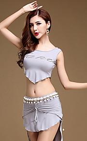 Belly Dance Outfits Women's Training Modal Draped 2 Pcs Black / Blue / Light Gray Sleeveless Natural Top / Skirt No Belt