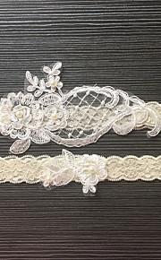 Garter Stretch Satin / Lace Flower / Imitation Pearl Ivory