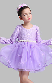 A-line Short / Mini Flower Girl Dress - Cotton / Lace / Organza Long Sleeve Jewel with Lace / Pearl Detailing