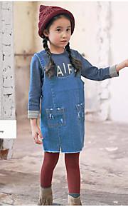 Mädchen Kleid / Anzug & Overall-Lässig/Alltäglich einfarbig Baumwolle Frühling / Herbst Blau