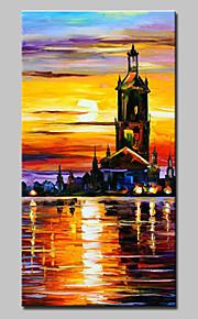 Pintada a mano Abstracto / Paisaje / Paisajes Abstractos Pinturas de óleo,Modern / Estilo europeo Un Panel LienzosPintura al óleo pintada