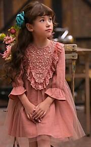 Mädchen Kleid-Lässig/Alltäglich einfarbig Baumwolle Herbst Schwarz / Blau / Rosa