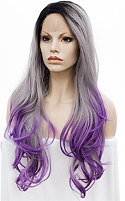 IMSTYLE 24Dark Root Gray Purple Ombre Wave Synthetic Lace Front Wig
