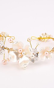 Women's Crystal / Brass / Alloy / Imitation Pearl / Resin Headpiece-Wedding / Special Occasion Headbands 1 Piece White