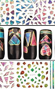 4 Nagel-Kunst-Aufkleber 3D Nails Nagelaufkleber Abstrakt Make-up kosmetische Nail Art Design