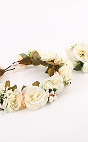 Women's / Flower Girl's Fabric Headpiece-Wedding / Special Occasion / Casual / Outdoor Wreaths 2 Pieces White