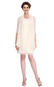 Sheath / Column Mother of the Bride Dress Knee-length Half Sleeve Chiffon with