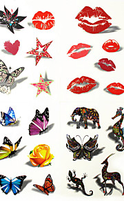 1PC 3D Temporary Tattoo Stickers Sexy Body Art Waterproof Luminous Tattoos for Girls and Man 21*11cm (Assorted Pattern)