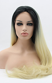 Sylvia Synthetic Lace front Wig Black Blonde Ombre Hair Heat Resistant Long Silky Straight Synthetic Wigs