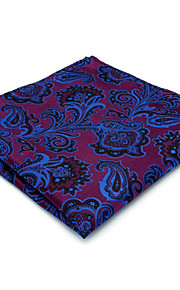 Mens Pocket Square Hanky Handkerchief Purple Paisley 100% Silk For Men Wedding