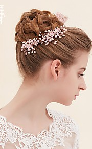 Pink Crystal Beaded Hair Accessories Bridal Headdress Suit Dress Accessories Korean jewelry Gift Box A1383