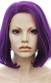 IMSTYLE 10''New Arrival Short Fashion Synthetic Lace Front Purple Bob Lace Wig