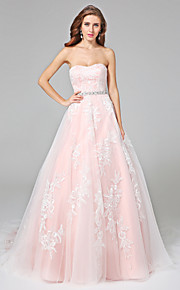 Lanting Bride® Robe de Soirée Grandes Tailles Robe de Mariage  - Elégant & Luxueux Dos ouvert Traîne Chapelle Sans BretellesDentelle /