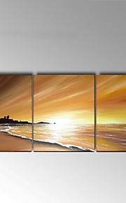 Håndmalte Abstrakt / Landskap olje~~POS=TRUNC malerier~~POS=HEADCOMP,Moderne / Europeisk Stil Tre Paneler Lerret Hang malte oljemaleriFor