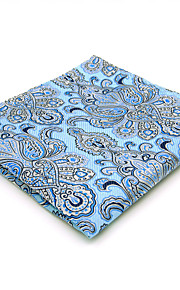 Men's Pocket Square Hanky Handkerchief Blue Paisley Jacquard Woven  Business