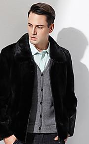 Manteau en Fourrure Hommes,Couleur Pleine Décontracté / Quotidien simple Manches Longues Col de Chemise Noir Autres Epais Hiver
