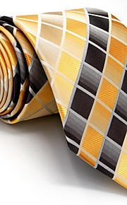 Men's Necktie Tie Yellow Checked 100% Silk Jacquard Woven Business Dress Casual Wedding For Men