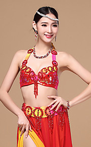 Belly Dance Outfits Performance Cotton / Polyester Beading / Paillettes / Pleated / Sequins 2 Pieces Dropped Top / Belt