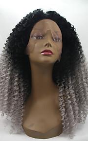 Sylvia syntetisk blonder foran parykk sort grå ombre hår varmebestandig kinky krøllete syntetiske parykker for svarte kvinner