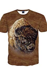 남성 프린트 라운드 넥 짧은 소매 티셔츠,심플 / 보호 / 액티브 데이트 / 비치 / 휴일 브라운 폴리에스테르 봄 / 여름 중간
