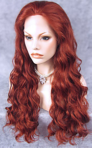 IMSTYLE 24''Heat Resistant Auburn Long Wave Synthetic Wig Lace Front Cheap