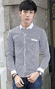 פסים צווארון חולצה פשוטה / סגנון רחוב ליציאה / יום יומי\קז'ואל / מידות גדולות חולצה גברים,סתיו / חורף שרוול ארוך כחול / אדום / שחור דק