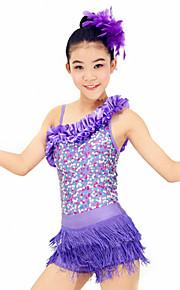 Dresses Performance Spandex / Paillettes / Sequins / Tassel(s) 4 Pieces Latin Dance Sleeveless HighDress / Bracelets