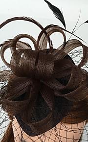 Femme Plume Filet Casque-Mariage Occasion spéciale Décontracté Coiffure Voile de cage à oiseaux 1 Pièce