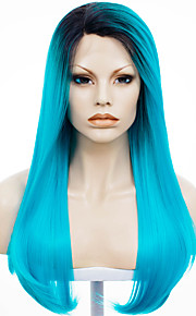 IMSTYLE 24''Drag Queen Beautiful Electric Blue Dark Root Straight Synthetic Lace Front Wig