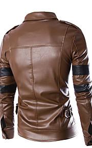 Vestes en Cuir Hommes,Couleur Pleine Décontracté / Quotidien simple Manches Longues Col de Chemise Noir / Gris Cuir Moyen Automne / Hiver