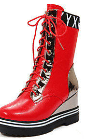 Women's Boots Fall / Winter Platform Leather Casual Platform Lace-up Black / Red / Silver / Beige Others