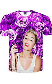 남성 프린트 라운드 넥 짧은 소매 티셔츠,심플 / 보호 / 액티브 데이트 / 비치 / 휴일 퍼플 폴리에스테르 봄 / 여름 중간