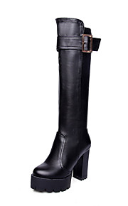 Women's Solid High Heels Round Closed Toe Artificial Cow Leather Zipper Boots