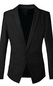 Blazer Hommes,Couleur Pleine Sortie / Travail / Mariage Vintage / simple / Chic de Rue Automne / Hiver Manches Longues Revers Cranté Noir