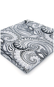 Mens Pocket Square Gray Paisley Handkerchief Business For Men