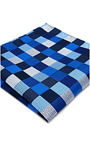 Mens Pocket Square Blue Checked Handkerchief For Men Wedding Jacquard Woven