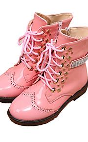Girl's Boots Winter Snow Boots / Comfort PU Dress / Casual Flat Heel Rivet / Zipper Black / Pink Walking