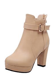 Women's Solid High Heels Round Closed Toe Pu Zipper Boots