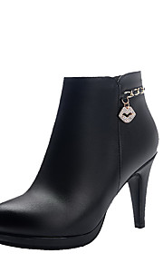 Women's Ankle High Zipper High Heels Round Closed Toe Boots