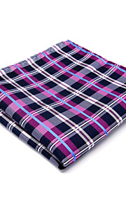 Mens Pocket Square Handkerchief Hanky Blue Pink Checked 100% Silk Business For Men