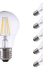 6W E26/E27 Ampoules à Filament LED A60(A19) 4 COB 806 lm Blanc Chaud Gradable AC 100-240 V 6 pièces