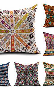 6 pcs Kilim Tribal Throw Case Cotton Linen Decorative 2 Sides Printing Modern Contemporary Pillow Cover