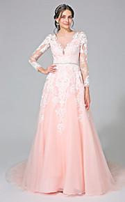 Lanting Bride® Trapèze Robe de Mariage  - Classique & Intemporel Dos ouvert Traîne Chapelle Bateau Tulle avecAppliques / Ceinture / Ruban