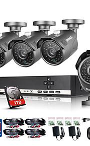 annke® 8-kanaals CCTV-systeem camcorder 720p ahd dvr 4 stuks 1.0 mp camera bewakingssysteem met 1TB